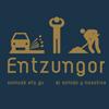 Dibujo de presentación de la exposición Entzungor, el sonido y nosotros. Una persona entre los ruidos de un coche y una obra