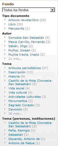 Columna derecha de la página de resultados. Agrupa los resultados por tipo, autor, tema...